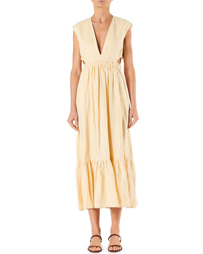 Linen Canvas Cutout V-Neck Dress