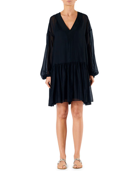 Tibi Dresses SPRING GAUZE V-NECK LONG-SLEEVE DRESS