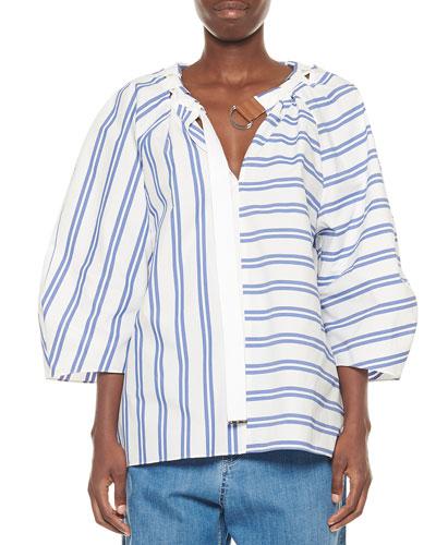 Vivian Striped 3/4-Sleeve Top