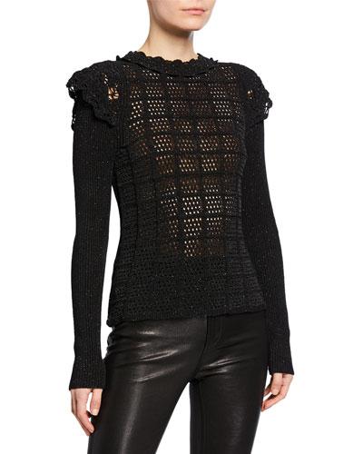 Metallic Knit Ruffle Sweater