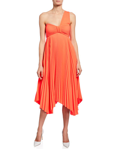 Marbury One-Shoulder Pleated Handkerchief Dress