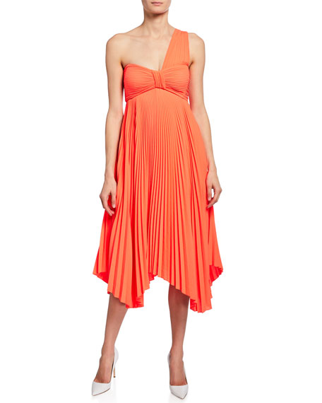 A.L.C. Marbury One-Shoulder Pleated Handkerchief Dress
