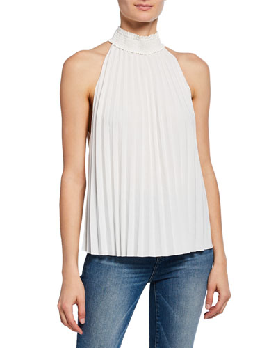 Imani High-Neck Pleated Top