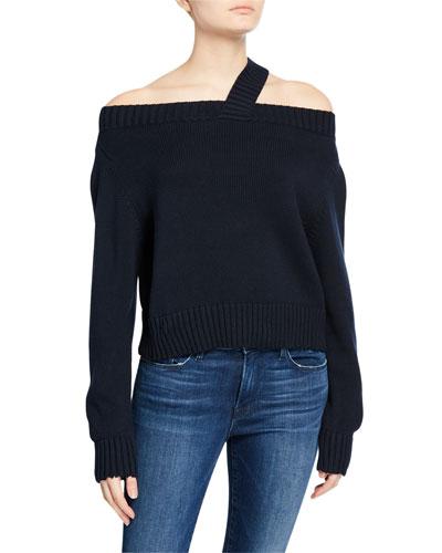 Beckett Off-Shoulder Sweater  Navy