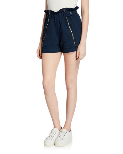 Louie Zip-Front Paperbag Shorts