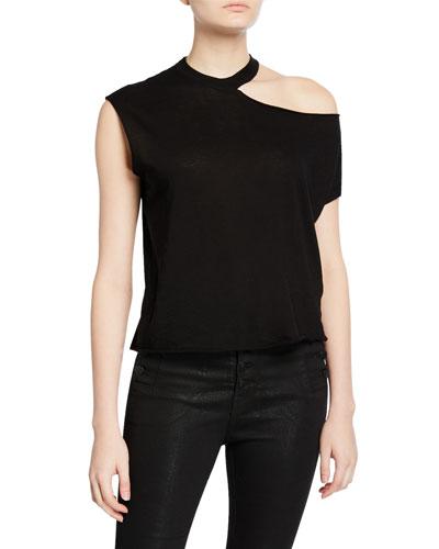 Axel Cold-Shoulder Cotton-Cashmere Top
