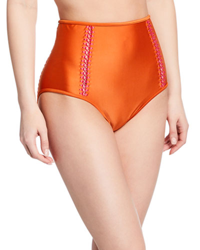 Solid High-Waist Bikini Bottom with Stitching