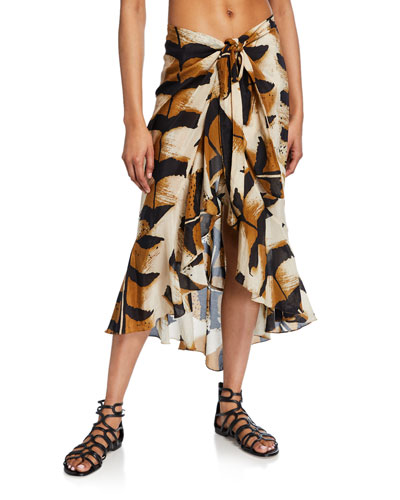 Animal-Print Coverup Pareo