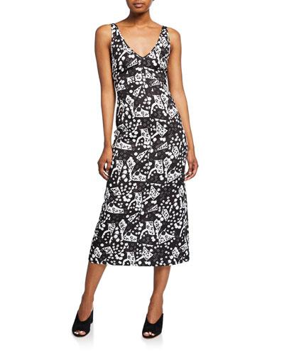 Prim Printed Sleeveless V-Neck Dress
