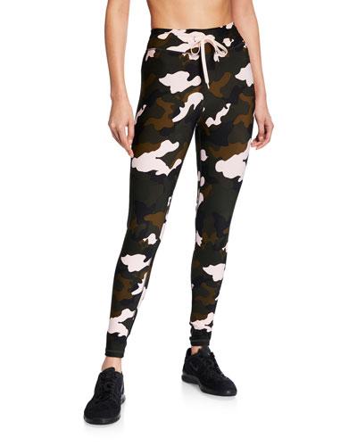 Forest Camo-Print Midi Yoga Pants