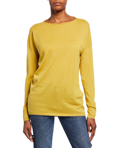 Lana Roll-Neck Long-Sleeve Cashmere Top
