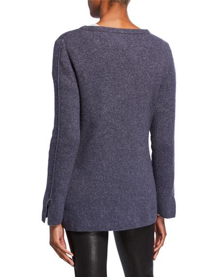 Tamara Crewneck Long-Sleeve Cashmere/Silk Top