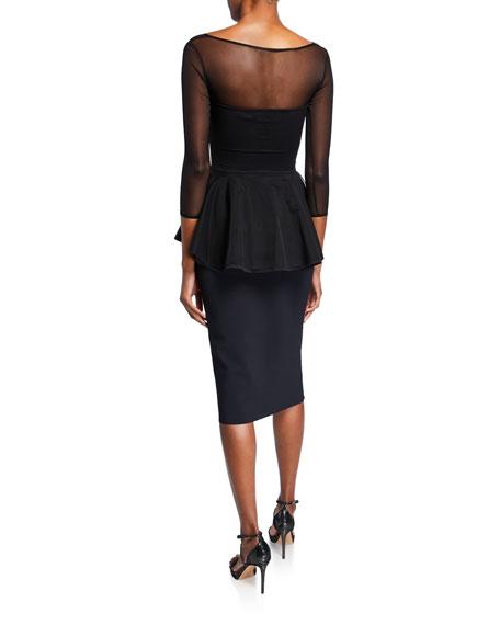 Arquette Illusion 3/4-Sleeve Peplum Cocktail Dress