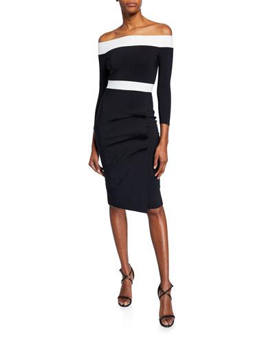 5cd3f59c48 Larissa Bicolor Off-the-Shoulder 3 4-Sleeve Cocktail Dress