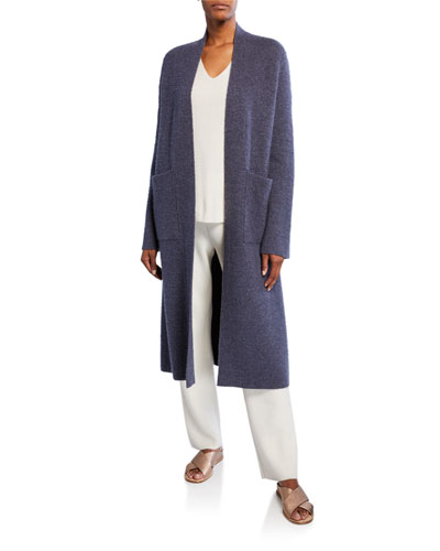 Pollux Open-Front Double-Face Reversible Maxi Cardigan