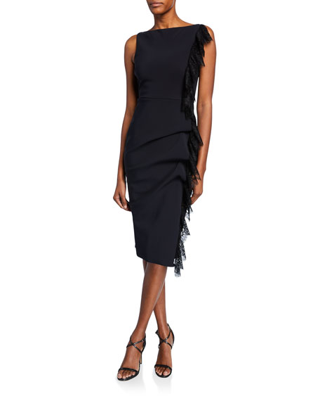 Chiara Boni La Petite Robe Dresses MELANIE HIGH-NECK SLEEVELESS DRESS WITH LACE SIDE RUFFLE
