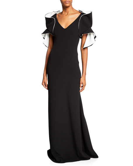Badgley Mischka Collection V-Neck Origami-Sleeve Two-Tone Gown