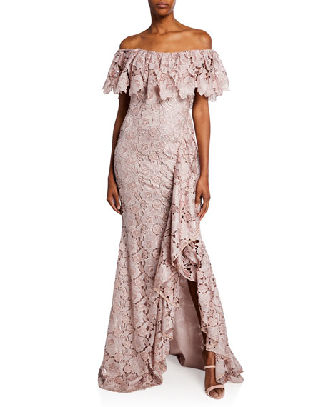 Badgley Mischka Shorts OFF-THE-SHOULDER SHORT-SLEEVE FLORAL LACE RUFFLE GOWN