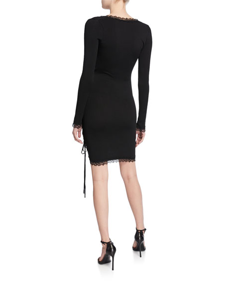 Long-Sleeve Ruched Mini Dress with Lace Trim