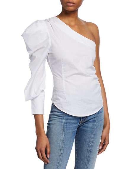 Ruched Oxford One-Shoulder Top