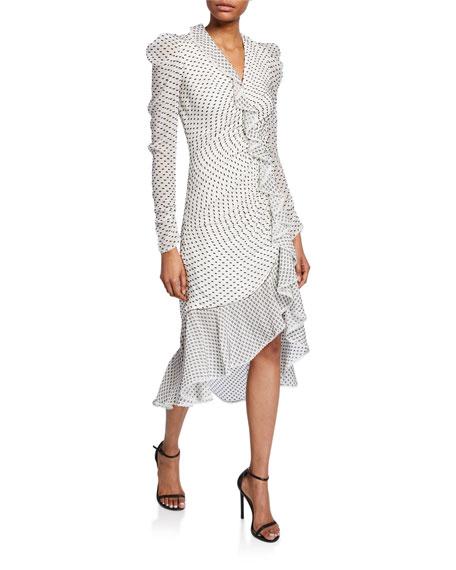 Dotted Chiffon Ruffle Dress