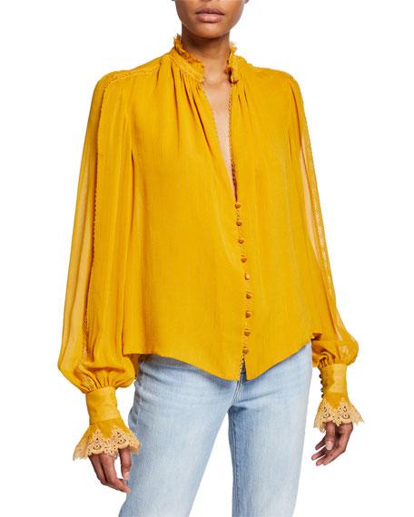 Striped Georgette Button-Down Blouse