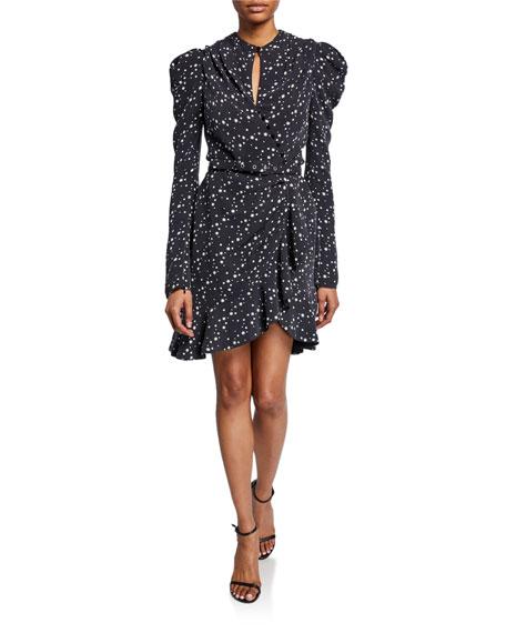 Star-Print Long-Sleeve Wrap Dress