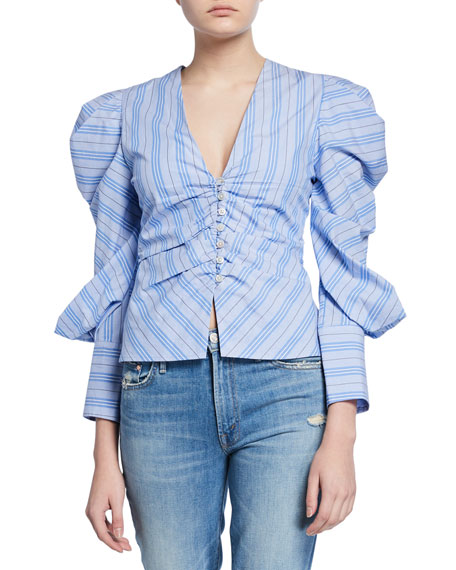 Ruched Oxford Striped V-Neck Top