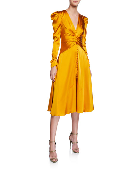 Ruched-Front V-Neck Long-Sleeve Sateen Dress
