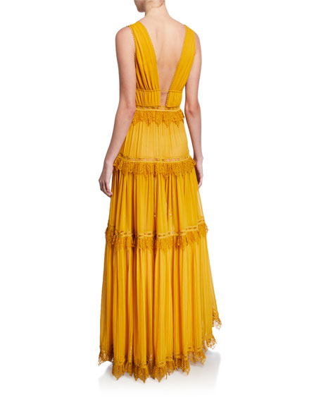 Plunge V-Neck Sleeveless Tiered Georgette Maxi Dress
