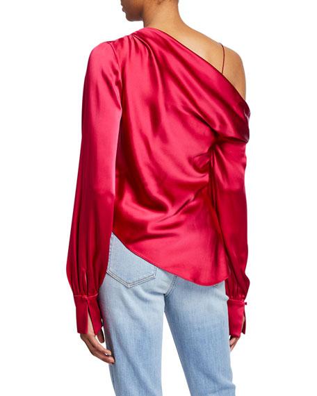 Sateen Lingerie Lace One-Shoulder Top