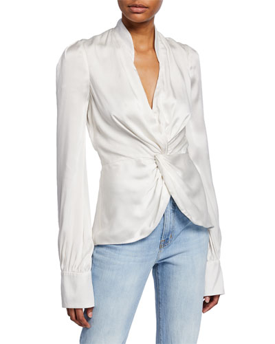 Charmeuse Twist-Front Top