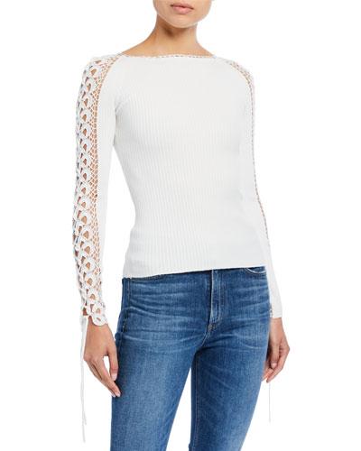 Compact Crochet Long-Sleeve Sweater