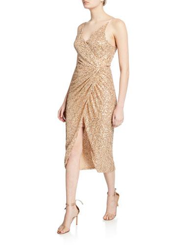 Sequined Sleeveless Wrap Dress