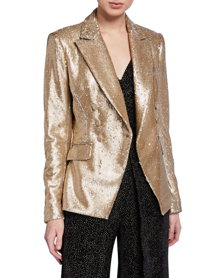 Distressed Sequined Double-Breasted Blazer