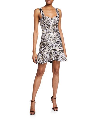 Metallic Leopard Jacquard Bustier Ruffle Dress