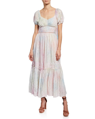 27674b76f8e1 Angie Embroidered Silk Puff-Sleeve Maxi Dress