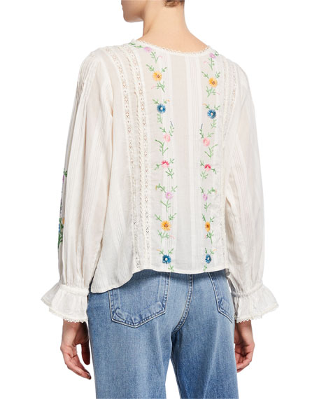 Stevie Embroidered Button-Up Top
