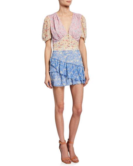 Loveshackfancy Dresses BEA COLORBLOCK FLORAL SILK SHORT DRESS