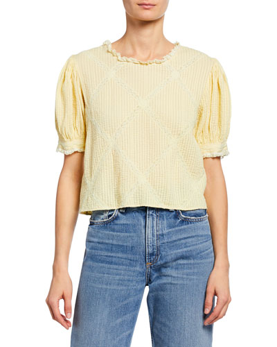 Addie Button-Back Puff-Sleeve Pintuck & Lace Crop Top