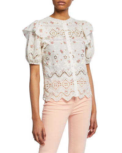 Tilda Embroidered Eyelet Short-Sleeve Top