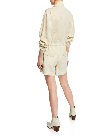Boa Button-Front Short Jumpsuit