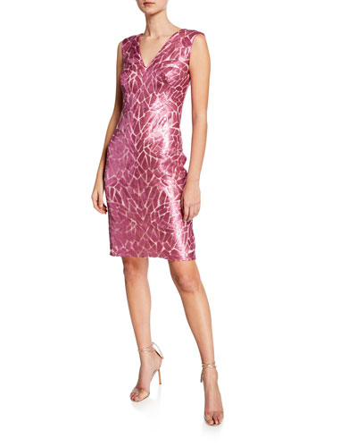 Sequin V-Neck Sleeveless Cocktail Dress
