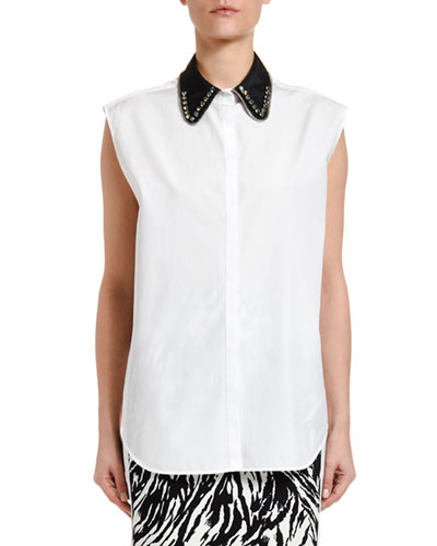 Collared Sleeveless Button-Down Blouse