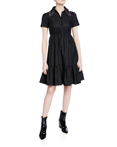 Collared Short-Sleeve Dress with Crystals