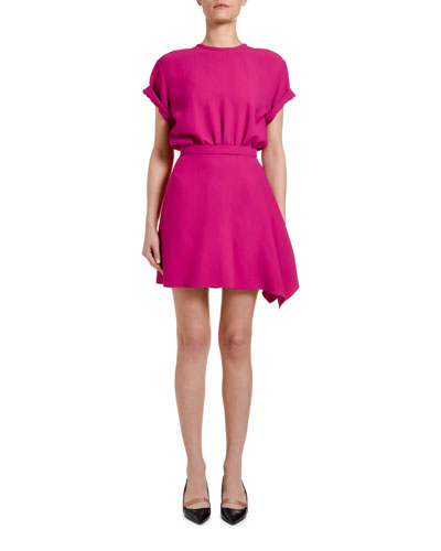 Short-Sleeve Asymmetric Mini Dress