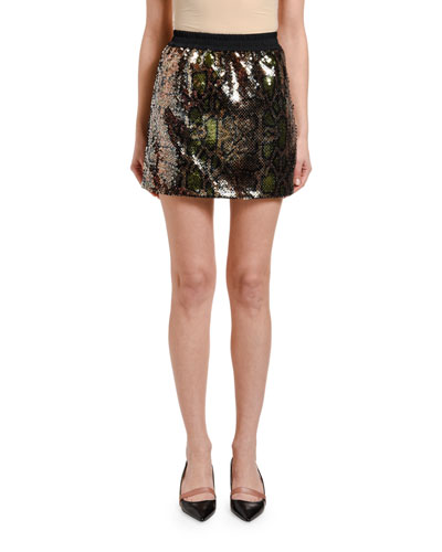 Sequined Python Mini Skirt
