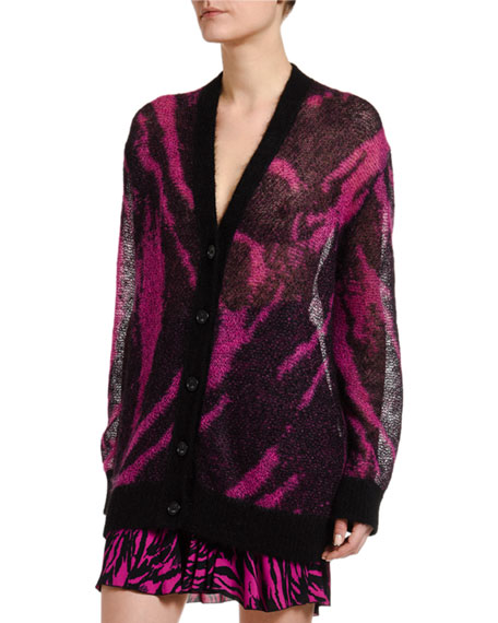 Zebra-Patterned Button-Front Cardigan