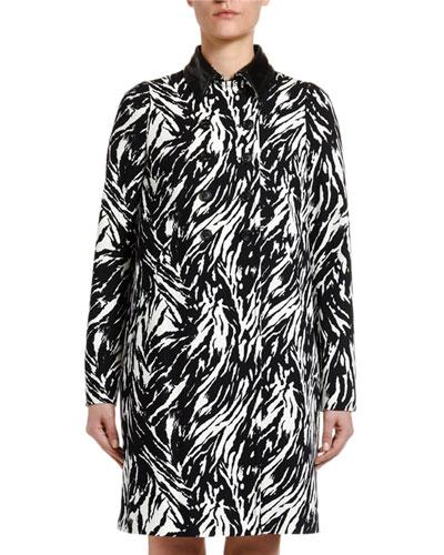 Animal-Print Long Coat with Vinyl Collar