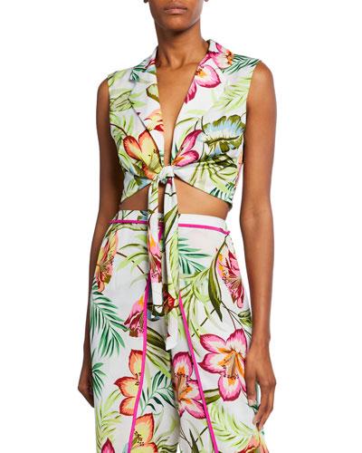 Skyline Floral-Print Tie-Front Crop Top